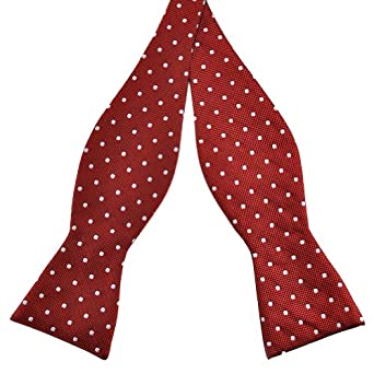 4ede71bf8831 Pensee Mens Self Bow Tie Red and White Polka Dot Jacquard Woven Silk Bow  Ties