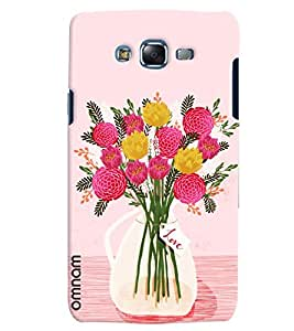 Omnam Flower Vask With Pink Effect Printed Designer Back Cover Case For Samsung Galaxy J7