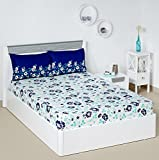 #7: Solimo Jasmine Zest 144 TC 100% Cotton Double Bedsheet with 2 Pillow Covers, Blue