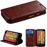 MyBat Motorola Moto G MyJacket Wallet with Tray and Package - Retail Packaging - Brown
