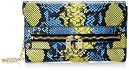 MILLY Belize Snake Clutch, Yellow/Blue, One Size