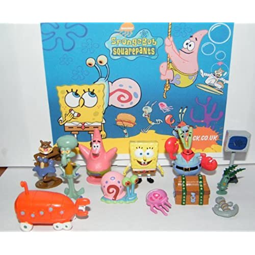 장난감 Spongebob 스펀지 밥 and Friends  후렌즈  Mini Toy Figure 피규어 Playset 플레이 세트 of 12 with Mr. Krabs Computer Wife Karen Treasure Chest Patrick Jelly Fish Anchor and Much More! [병행수입품]-
