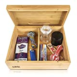 Rolling Tray Stash Box - Extra Large Bamboo Box w/ Ample Storage Space to Organize All Smoking Accessories - Comes with Convertible Rolling Tray Lid
