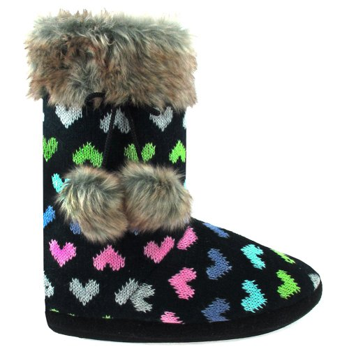 Image of Capelli New York Flipping Hearts Knit Boot With Cuff And Poms Ladies Indoor Slipper (B005MJZ09A)