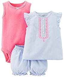Carter\'s Baby Girls\' 3 Piece Striped Romper Set (Baby) - Blue - 6 Months
