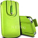 N E Fing Green PU leather magnet button Pull Tab Case and Mini Stylus for Nokia Asha 300(s)