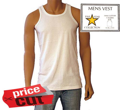 Mens Boys Underwear Thick 100% Cotton Singlet Seamless Interlocking Vest 3 Pack Sizes 3XL To 4XL (3XL)