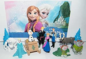 Disney Frozen Deluxe Figure Play Set Toy of 12 with Anna, Elsa the Snow Queen, Olaf the Snowman, Reindeer Sven, Ice Sled, Trees, Snow Monster, Trolls and More!