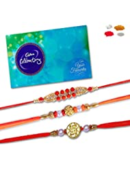 Bracelet , Bead And Divine Set Of 03 Rakhi Set Of 03 Rakhi With Cadbury Celebration Chocolate Pack