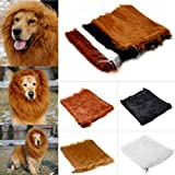 (Color:Black) Pet Lion Mane Wig Halloween Costume Clothes For Large Dog Cat 80Cm with Headband & USB Light