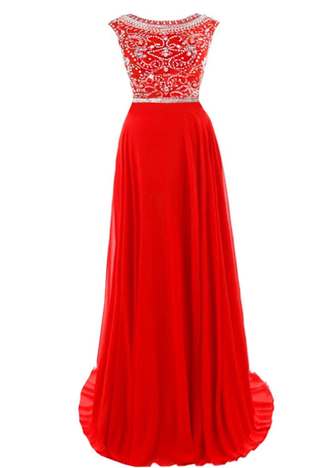Promonline long prom dresses sequins beaded chiffon evening party