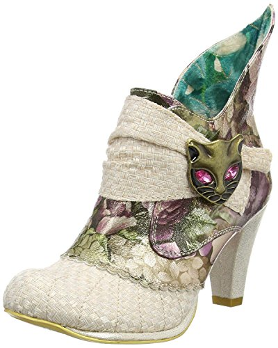 Irregular Choice Miaow Cream Multi Womens Ankle Boots Shoes-36