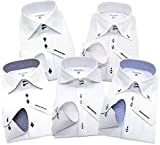 (メンズバツ)MEN'SBA-TSUジャパンブランドbhL-スマート5枚セットワイシャツセットボタンダウンホリゾンタルデザインスリム細身デザインワイシャツyシャツ長袖 ビジネス 形態安定 白 メンズ