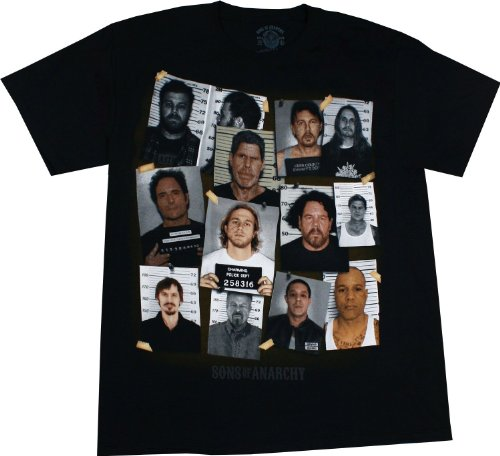 Sons of Anarchy Group Mugshot Black Shirt, X-Large