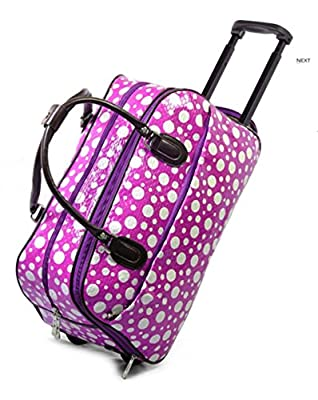 LIGHTWEIGHT Ladies (High Quality Fashion) Travel Bags Holdall Hand Luggage Womens Weekend Handbag Wheeled Trolley (FASHION BAG PURPLE WITH WHITE SPOTS DESIGN) IDEAL BAG FOR OVERNIGHT & WEEKENDS WOMENS GIRLS TRAVEL FLIGHT LUGGAGE MATERNITY HOSPITAL SPORT G