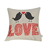 EFLY Love Valentine's Day Wedding Gift Soft Cotton Blend Linen Throw Pillow Case Decor Cushion Covers Square 18x18 Inch 45x45cm
