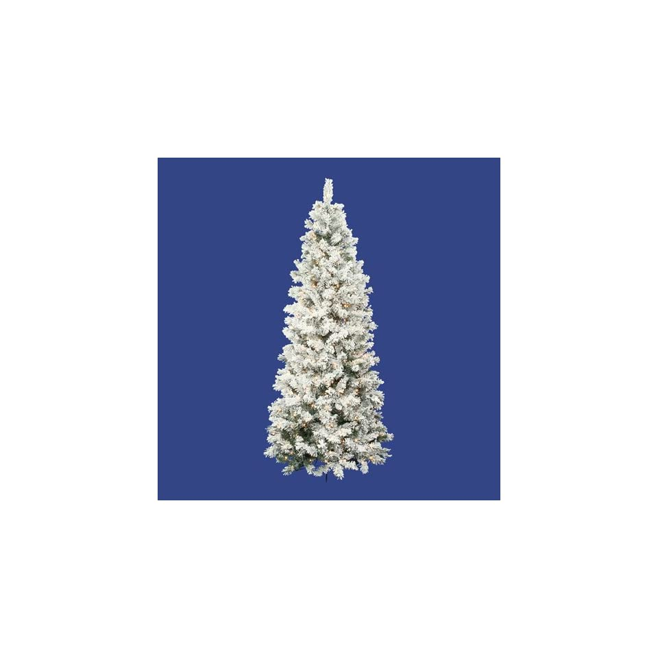 7.5 Pre Lit Flocked Alaskan Slim Artificial Christmas Tree   Clear Lights