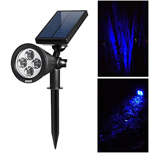 Blue Light Auto Solar Panel Spotlight Outdoor Waterproof 200 Lumen Wall Mount eBay