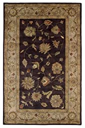 Area Rug, Eggplant/Ivory Traditional Bordered Soft Wool Carpet, 4-Foot X 6-Foot