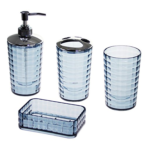 Justnile clear acrlyic 4 piece bathroom accessory set for Clear bathroom accessories