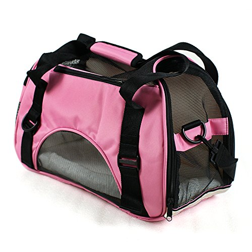 Zeny® Pet Carrier Soft Sided Cat/Dog Comfort Travel Tote Bag Airline Approved (Hot Pink)
