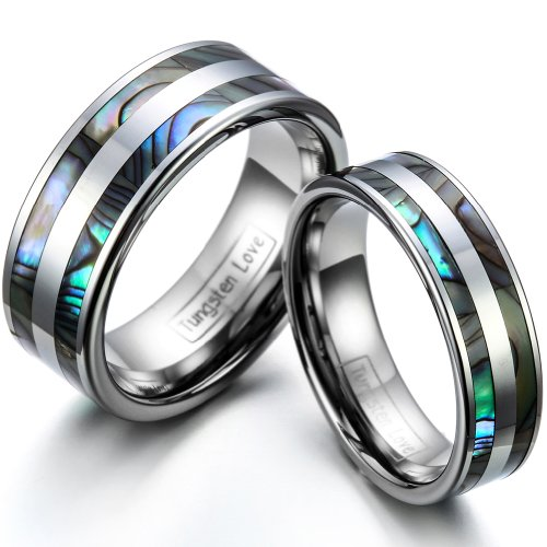 JewelryWe His and Her's 8MM/6MM Double Synthetic Abalone Inlay Tungsten Carbide Wedding Band Ring Bridal Set, Sizes 4-14.5 Including Half Sizes, E-mail Sizes (Tungsten Carbide Ring Set compare prices)
