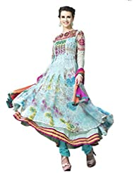 Brides Galleria Georgette And Net Resham Embroidery Worked Light Blue Anarkali Suit
