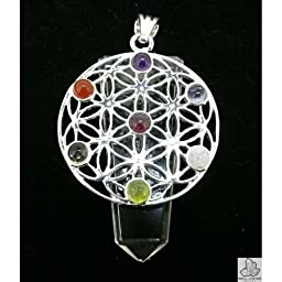 Necklace White Quartz Flower of Life 2 with Chakras minerals (Silver Plated)