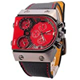 OULM Mens Oversize 3 Time Zone Military Sport Leather Quartz Watch Red