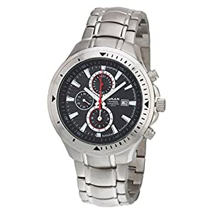 OMAX Men's Chronograph Silver Watch Black