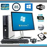 Dell OptiPlex Computer Tower withl LCD Black / Silver Monitor - Intel Core 2 Duo CPU - 250GB Hard Drive - 4GB RAM - DVD - Wireless Internet Ready - Keyboard and Mouse - Genuine Windows 10 Home