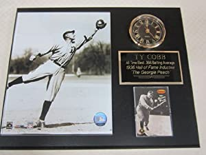 Ty Cobb Detroit Tigers Collectors Clock Plaque w 8x10 Photo and Card by TY