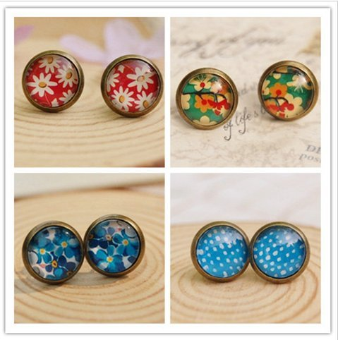 [earringFashion Jewelry Earrings Retro Vintage Handmade round Cute lovely Studs Earrings Time Gem Glass] (Vintage Costume Jewelry Images)