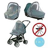 3en1 Mosquitera para el carrito de paseo / Sillita coche bebé / Moisés bebé - Medida universal, contra insectos y mosquitos mws1219