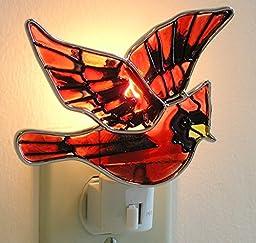 Red Cardinal Bird Night Light Stained Glass
