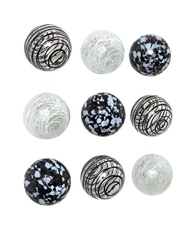 Worldly Goods Set of 9 Glass Wall Spheres, Black/White