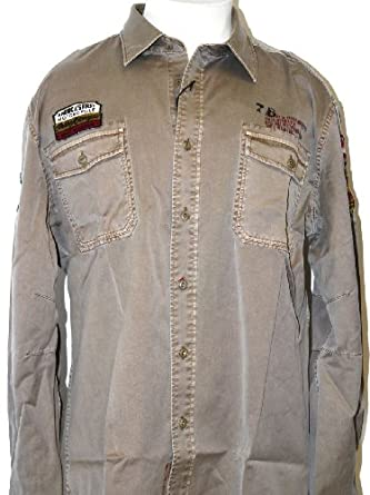 Indian Motorcycle Warrior Logo Men's Vintage Long Sleeve Button Up Woven Shirt