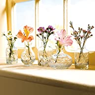 Small Cut Glass Vases In Differing Unique Shapes – Set Of Five – Valentine's Day Gift