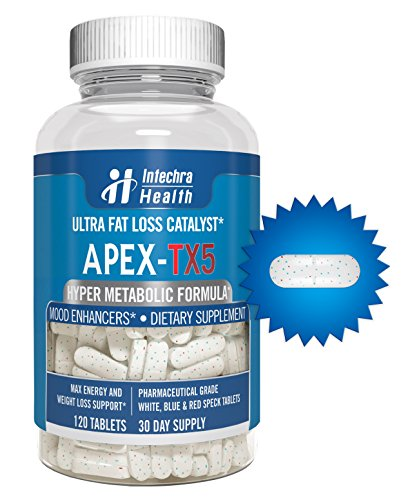 APEXTX5 Ultra Fat Loss Catalyst 120 Tablets Pharmaceutical Grade Thermogenic Intensifier for Maximum Energy & Weight Loss White Blue & Red Speck Tablets Made in USA in a GMP Certified Highest Quality Lab