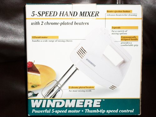 Windmere 5 Speed Electric Hand Mixer with 2 Chrome Plated Beaters 125 Watts