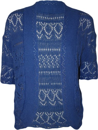 WearAll Women's Plus Size Crochet Knitted Short Sleeve Cardigan - Royal Blue - US 14-16 (UK 18-20)