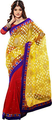 Red Yellow Red Wedding Wear Saree Indian Work Georgette Jacquard Sari (Multicolor)