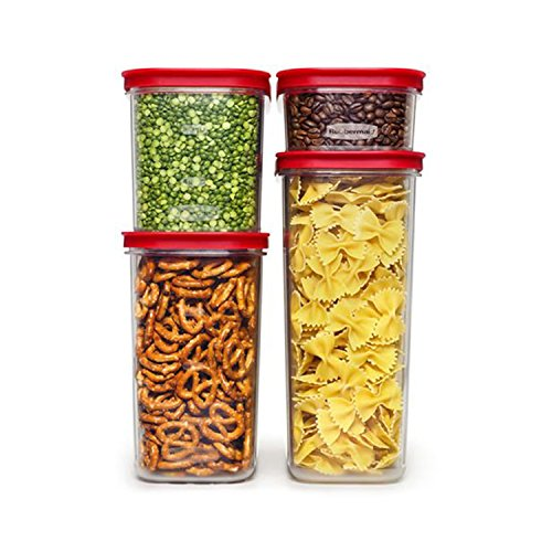 Rubbermaid Modular Canisters, Premium Food Storage Container, BPA-free Zylar, 8-piece Set, Red (1840746) (Food Pantry Containers compare prices)