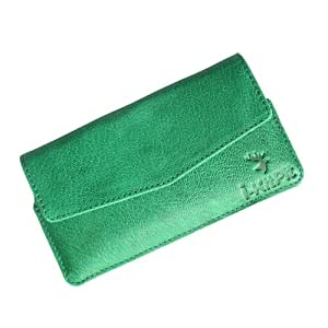 i-KitPit : Genuine Leather Pouch Case Cover For Lava iris 505 (GREEN)