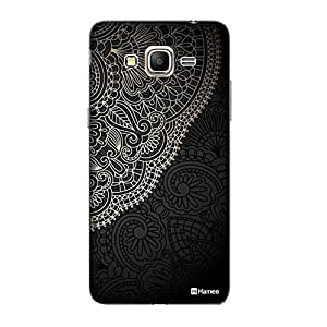 Customizable Hamee Original Designer Cover Thin Fit Crystal Clear Plastic Hard Back Case for Samsung Galaxy J5-6 (New 2016 Edition) (Black Gold Paisley)
