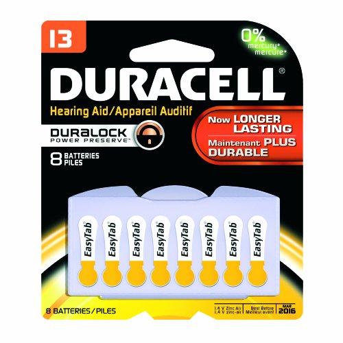 Duracell Da13B8Zm09 Easy Tab Hearing Aid Zinc Air Battery Pack, 13 Size, 1.4V, 300 Mah Capacity (Case Of 6 Cards, 8 Unit Per Card)