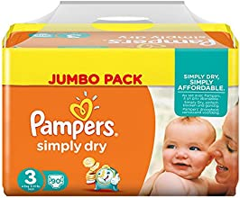 Pampers Windeln Simply Dry Gr. 3 Midi 4-9 kg Jumbo Pack, 2er Pack (2 x 90 Stück)