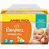 Pampers Couches Simply Dry Jumbo Pack Taille 3 Midi 4 à 9 Kg  X 90 Changes  - Lot de 2 (180 couches)