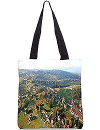 Snoogg City From The Top Digitally Printed Utility Tote Bag Handbag Made Of Poly Canvas - B01C8M64BG