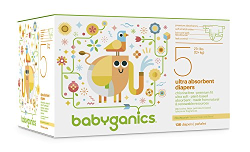 Babyganics Ultra Absorbent Diapers Economy Pack, Size 5, 136 Count (Chlorine Free Diapers 5 compare prices)